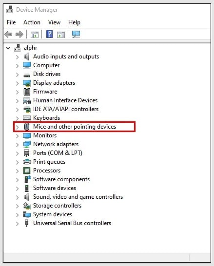 Mice and other pointing device menu